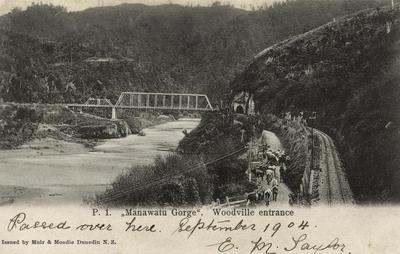 Manawatu Gorge rail bridge, c 1903