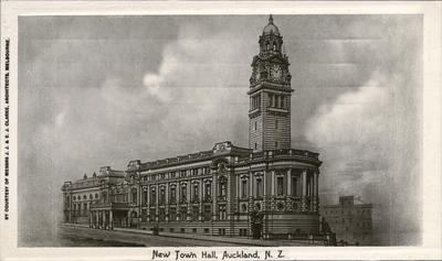 Exterior of the Auckland Town Hall when new