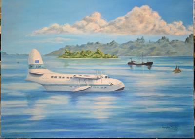 ZK-AMO in lagoon in Tahiti