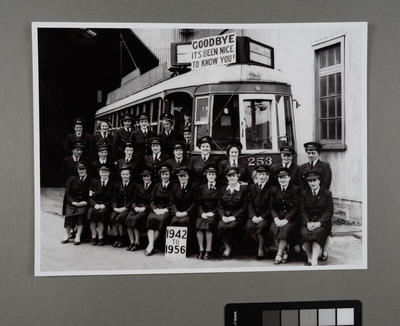 [Copy print of the final farewell gathering of the Auckland Tram Conductresses]; Graham Stewart; 1956