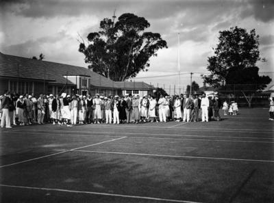 St Stephens Tennis Club members at Parnell school, c 1935