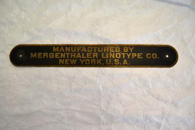 Nameplate [Mergenthaler Linotype Co.]