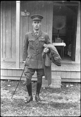 [Negative of Walsh Brothers Flying School graduate Henry (Harry) Melhuish Carter in NZFS uniform]