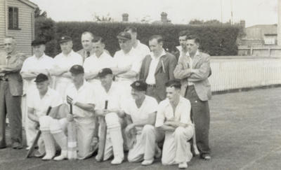 [Dunedin tramway cricket team at Laughlan Cup]; Unknown Photographer; Feb 1948
