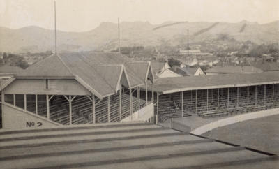 [Lancaster Park from a pavilion roof from Laughlan Cup]; Unknown Photographer; Feb 1948