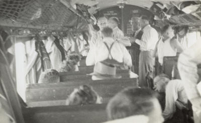[Auckland tramways cricket team on train to Wellington for Laughlan Cup]; Unknown Photographer; Feb 1948