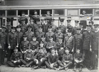 [Auckland Tramways Company employees at the Epsom Depot]