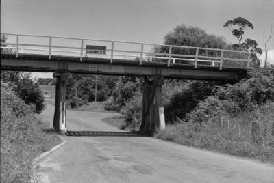 Photograph of rail overbridge, Kaipara Flats