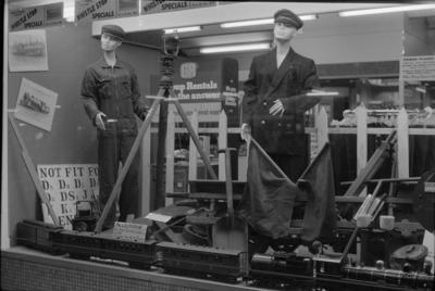 Photograph of rail memorabilia display