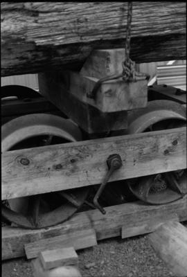 Photograph of bogie and wooden wheels for log wagon