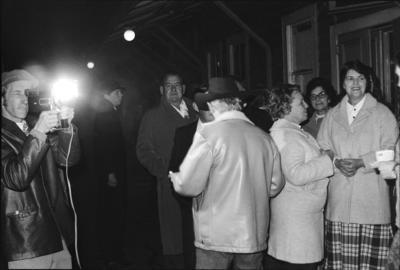 Photograph of party at closing of Frankton tearooms