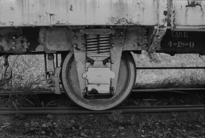 Photograph of wagon wheels