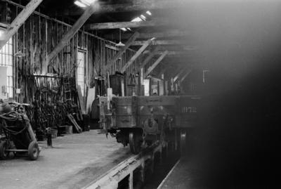 Photograph of interior of engine repair shed