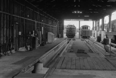 Photograph of engine shed interior