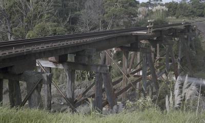Photograph of trestle rail bridge