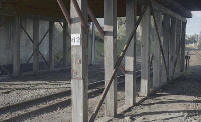 Photograph of underside of rail bridge