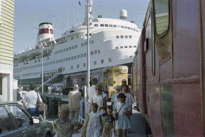 Photograph of Opua wharf, train and cruise ship