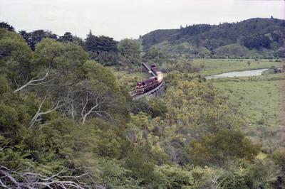 Photograph of two DA locomotives on trestle
