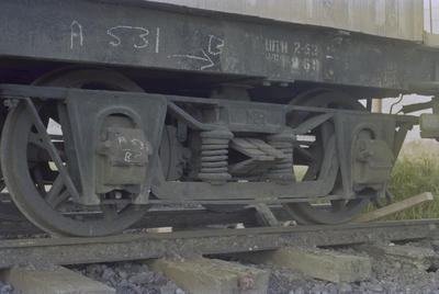 Photograph of early carriage bogie