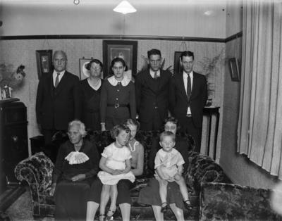 Family portrait in living room