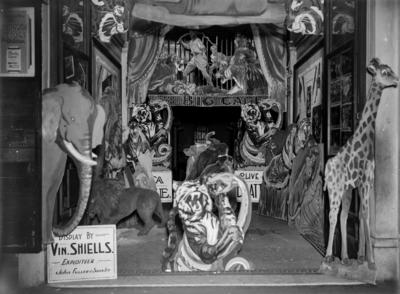 Advertising display for travelling circus created in retail entrance