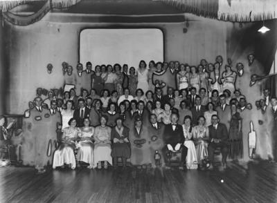Group portrait in small hall