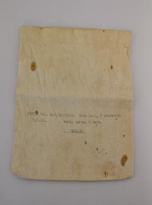Bag [Personal Effects]; M.W. Shepherd