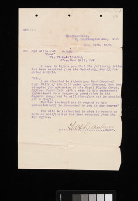 [Letter from Major Dawson informing Cpl. Mills of his acceptance for admission into Royal Flying Corps, Officer Cadet Unit]