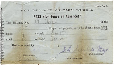 C.K. Mills Collection: Leave pass