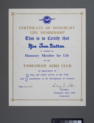 [Honorary Life Membership to Jean Batten]