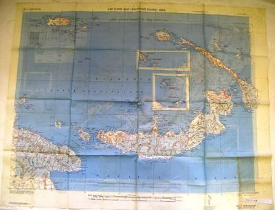 AAF cloth map - Southwest Pacific area [No. 16 Owen Stanley -- No. 17 New Britain]; Army Map Service, US Army; 1944
