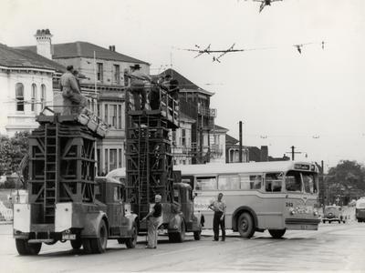 Trolleybus Overhead wire installation