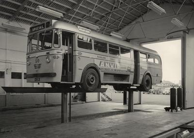 [AEC bus maintenance at May Road depot]