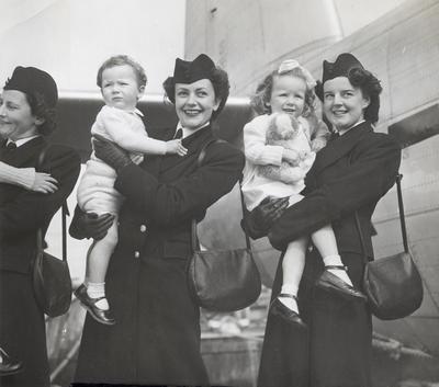 TEAL Stewardesses and children