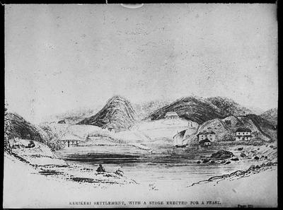Kerikeri Settlement with a stage erected for a feast