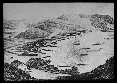 Photograph of a sketch showing a small settlement beside the sea