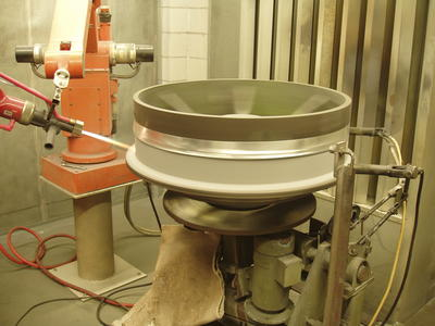 [Application of 'Tungsten Carbide'   by ABB IRB6 robot at Aerospace Thermal Coatings Ltd]