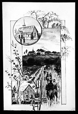 Photograph of a painting showing Old and New Kaitaia churches