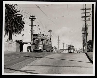 [Tram 248 and 253 on tram tracks on suburban road next to tram stop shelter]