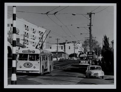 [Trolley bus 115 and 65 on Symonds Street]; Graham Stewart; 1950s