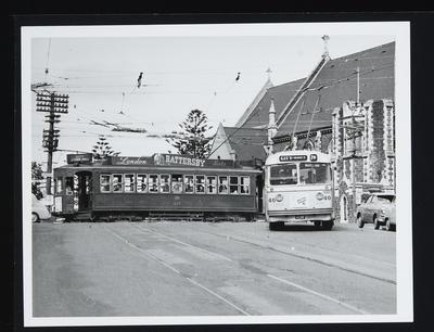 [Tram 227 and Trolley bus 40 on Symonds Street]