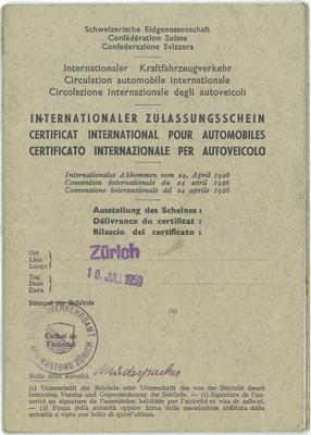 Swiss International Vehicle License.