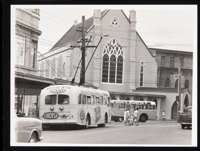 [Trolley bus 115 on Beresford Street]; Graham Stewart; 1971