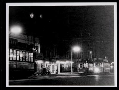 [Tram 247 at night on Queen Street]