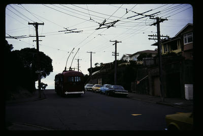 Route is Roseneath approaching Terminus & Hataitai Route; Peter Moses; 1978