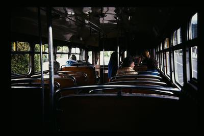 Inside Dunedin Trolley Bus