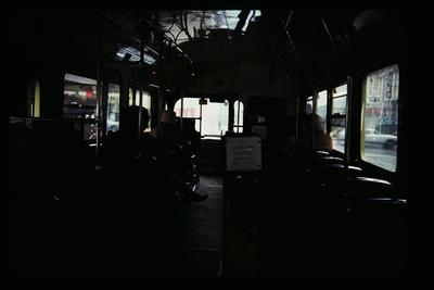 [Inside of a trolley bus]
