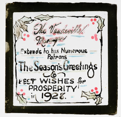Seasons Greetings from the Vaudeville Manager; Unknown; 1927