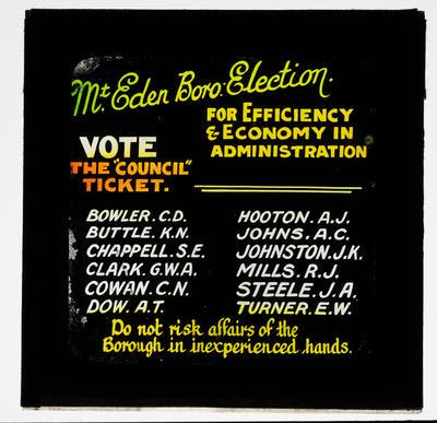Mt Eden Boro Election