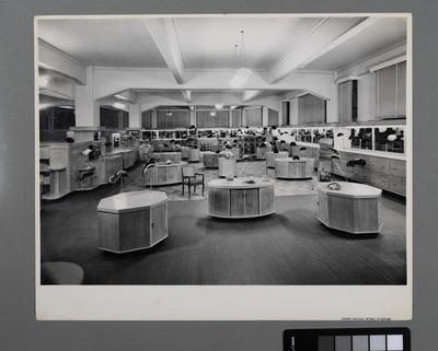 [Interior of womens hat department at George Court Department Store]